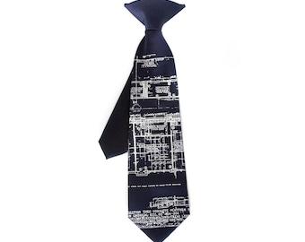 Little Architect. Boys blueprint necktie. Baby, toddler, or youth (big kids) size clip-on tie. Silkscreen design.