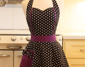 Sweetheart Apron Black and White Polka Dot with Purple MAGGIE