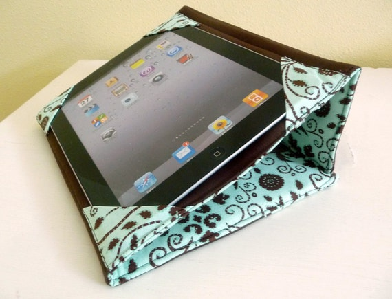 Standing iPad 2 or 3 Cover , Aqua and Brown Snow Flower