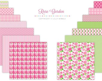 40% off Roses Digital Paper with cupcakes, ROSE GARDEN, scrapbook, Instant download, Commercial Use, floral papers
