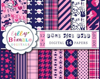 60% off Digital Scrapbook Papers PUNK ROCK Preppy Navy and Hot Pink Commercial Use included Instant Download