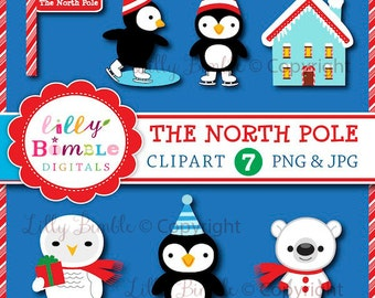 80% off Instant Download Digital Clipart the NORTH POLE Christmas owl, penguin, polar bear, workshop, Lilly Bimble
