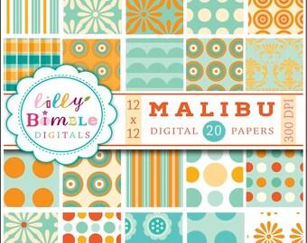 80% off Orange and teal digital paper, scrapbook, aqua, polka dot, summer, beach, pool party, Instant Download, Lilly Bimble, Malibu