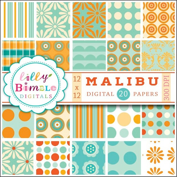 80% off Orange and teal digital paper, scrapbook, aqua, polka dot, summer, beach, pool party, Instant Download, Lilly Bimble, Malibu