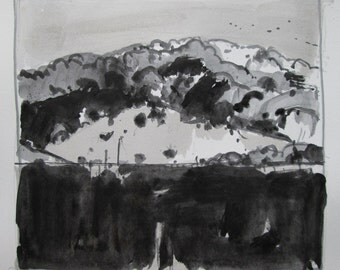 Coyote Hill, Original Landscape Drawing on Paper, Stooshinoff