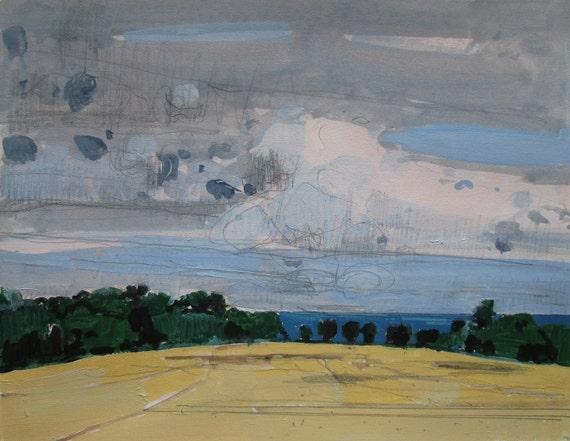 Lake Break, Original Landscape Painting on Paper, Lake Ontario