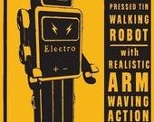 "Retro Robot Art Print- ElectroMan Tin Toy Robot Box Art Print 8"" x 12""- Land of Nod Robot Prints- Robot Wall Decor for Boys Room- Kid Decor"