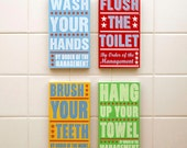 Kid Bathroom Decor- Bathroom Prints-  Bathroom Art- Set of 4 Order of Management Kids Room Art- Kids Wall Art- Bathroom Wall Decor Box Signs