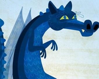 "The Smooth-Backed Irish Blue Dragon Print 8""x10"" - Childrens Art - Boys Nursery Art Prints- Nursery Prints- Baby Room Decor- Prints Kids"