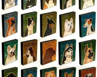 """Coworker Gift- Whimsical Dog Art Block- Pick the Dog Print- 4"""" x 5""""- Husband- Gift for Him- Dog Gift for Wife- Boyfriend- Gifts for Couple"""