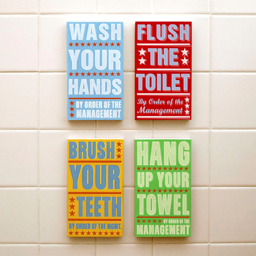 Bathroom decor bathroom wall decor box signs bathroom for Bathroom decor etsy