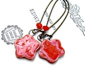 Orange Red Ceramic Water Lily Flowers Earrings Handmade