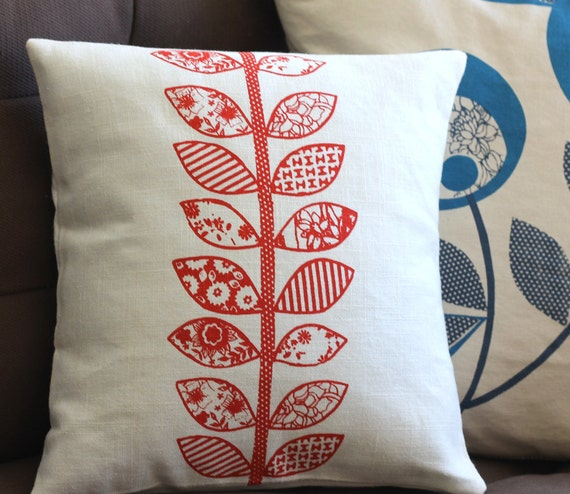 NEW Anna Joyce Textile Collection Linen Pillow, 14 x 14, Red Vintage Leaves