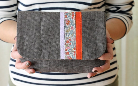 NEW Autumn Floral Clutch, Gray Linen, Liberty of London Fabric, Applique