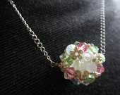 Charmed Necklace - Handwoven Light Pink, Mint Green, and Frosted White Swarovski Crystals, Sterling Silver