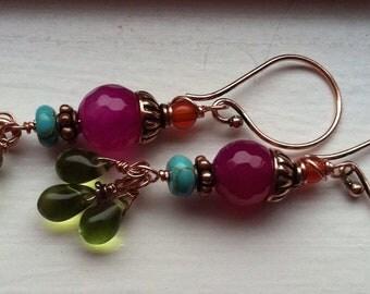 Colorful gemstone earrings
