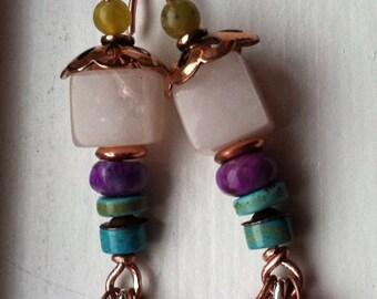 Pink opal earrings