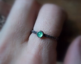 Tiny Stacking Ring- Brilliant Emerald Green Chrysoprase - Sterling and Fine Silver - Gemstone Stacker - Dainty