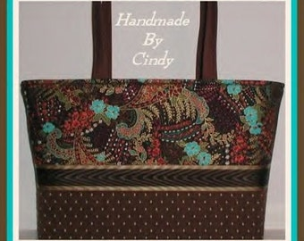 Bohemian Rhapsody Teal Turquoise Purse Tote Bag Brown Extra Large XL Rust Burgundy