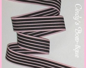 Pink Black Stripes Ribbon Grosgrain Princess Tuxedo 5 yards 7/8 wide cbseveneight