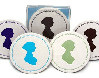 Jane Austen coaster set,  quotes from Pride & Prejudice, Emma, Northanger Abbey, Book club gift idea, literary, book lover,  Ready to Ship