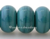 Lampwork Spacer Beads 5 MERMAID Teal Green Glossy & Matte Glass Handmade Donut Rondelle