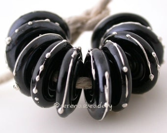 BLACK with Fine SILVER Dots Wavy Disks Handmade Lampwork Glass Beads - taneres