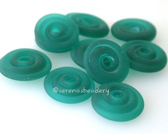 Wavy Disks Lampwork Glass DARK TEAL Matte Frosted Beads - TANERES sra blue green