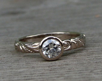 Moissanite Engagement Ring in Recycled 18k Palladium White Gold, Forever Brilliant Moissanite, Patterned Band, Eco-Friendly, Made to Order