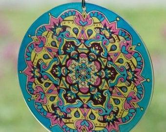 CMYK Mandala Suncatcher - Geometric Design Made From Recycled Materials - Cyan Magenta Yellow Black