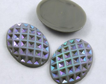 18mm x 25mm Grey and Iridescent Oval Cabochon #XS1-E