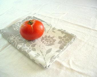 winter gray batik flowers tea towel