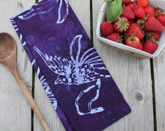 purple linen birds towel