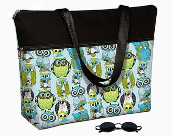 "17 inch Laptop Bag with Straps / Laptop Tote Bag / 17"" Laptop Case / Padded / Zippered Top  - Cute Owl blue green MTO"