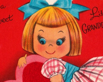 Vintage To A Sweet Little Granddaughter Valentines Greetings Card (B2)