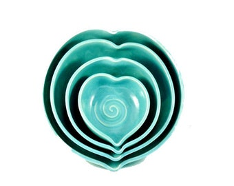 Ceramic Wedding Gift, Something Blue Heart Shaped Bowls - Aqua Blue Ceramic Nesting Hearts Stacking Dishes Set of four wedding couples gift