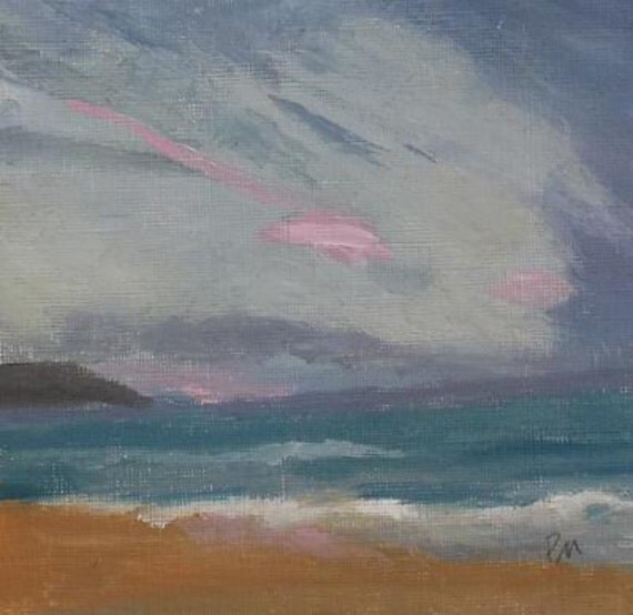 landscape oil painting pink and grey blue ocean beach painting
