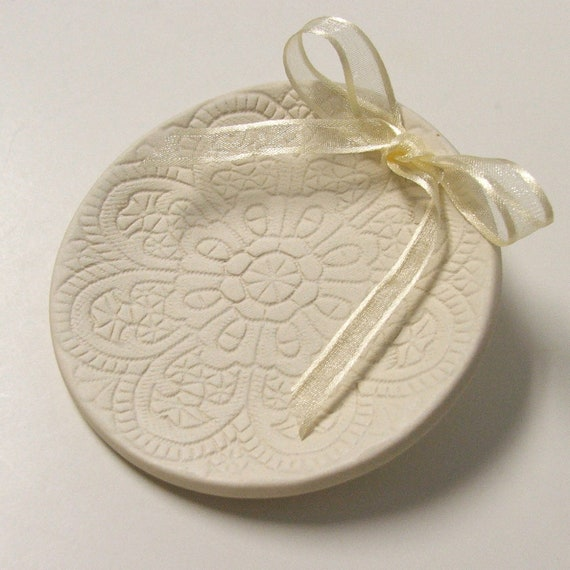 Ring Bearer Pillow, Ceramic wedding ring holder,  Wedding Ring Plate.Hand Built Porcelain