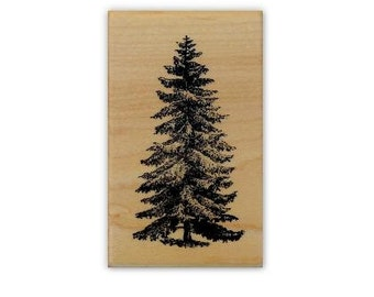Pine Tree med., mounted rubber stamp, winter, Christmas, Sweet Grass Stamps No.19