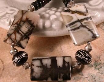 Gemstone necklace chocolate garnet  jasper sterling silver