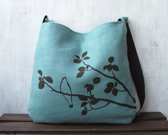 Hemp Tote Bag - Handbag - Messenger Bag with Bird on Tree - Turquoise Blue
