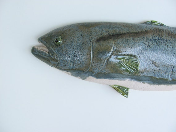 Ceramic fish art Bluefish decorative wall hanging