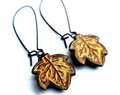 Mustard Yellow Fall  Leaf Dangle Earrings - blockpartypress
