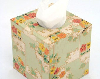 Floral Deco on Pale Green Tissue Box Cover 1930's Vintage Wallpaper