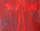 "ORIGINAL Painting - 'Anus Mundi' - 18 x 18"" Acrylic, Bitumen and Stencil Work on Canvas (Post War / Auschwitz)"