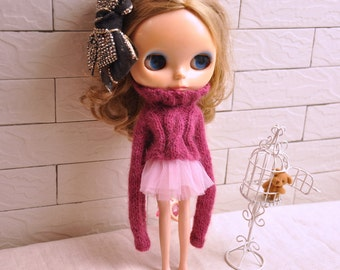 Longhair Angola Wool Babydoll Sweater for Blythe