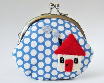Coin purse red house on blue polka dots change purse kiss lock clasp purse holiday gift felt applique