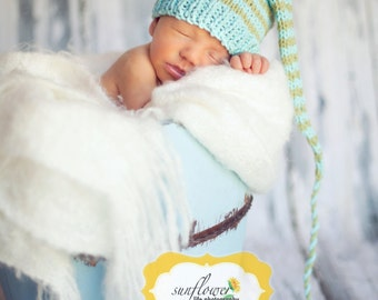Newborn Knit Cotton HAT Baby Photo ProP Cotton Stocking Baby Cap PiCK Coral Aqua Natural Moss Stripe BeANiE Boy Girl Unisex Coming Home Gift