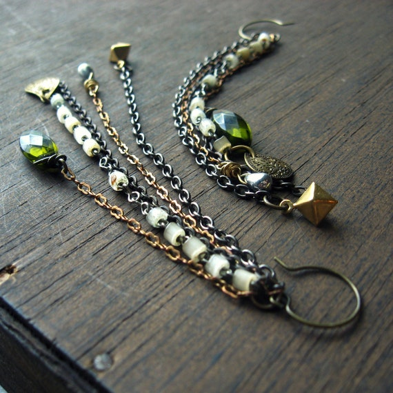 mixed media earrings chain collage long dangles olive green mixed metal rosary beads