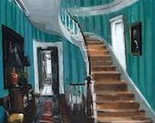 Art Print Interior Blue Townhome Stairwell Interior Urban 9x12 on 11x14 - Townhome Stairwell by David Lloyd